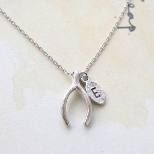 """Jewelry - Silver """"E"""" Monogram Leaf Wishbone Charm Necklace"""